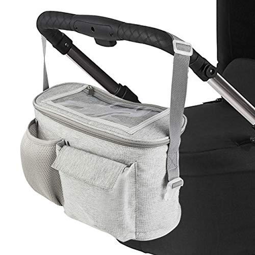 ONVAYA® Organizador para cochecito de bebé, bolsa para cochecito en color gris