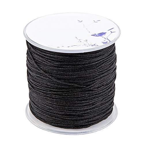 PandaHall 109 Meter (100m) 1 mm Nylon-Handstrickschnur-Sickenfaden für DIY Halskette,Schmuckherstellung,Schwarz
