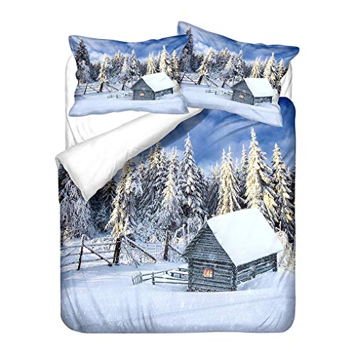 HNHDDZ 3D Printing White Blue Bedding set Natural Scenery Snow Starry Sky Planet Jungle Tree Mountain Eiffel Tower Duvet Cover and Pillowcase Microfiber (Style 4, King 220x240 cm)