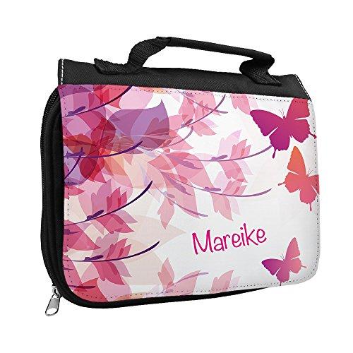 Kulturbeutel mit Namen Mareike und Motiv mit Schmetterlingen für Mädchen | Kulturtasche mit Vornamen | Waschtasche für Kinder