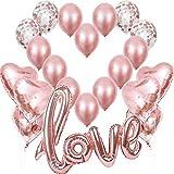 Globos de Oro Rosa Dorado, Globo Love XXL, 6 Corazón Rosegold Helio,4 Globos de Confeti,10 de látex, Decoración Romantica Día de San Valentín Bodas Nupcial Aniversario y Compromiso