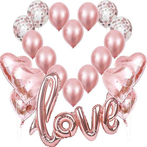 Rosegold Love Luftballons, XXL Love Helium Folienballon Rose Gold Herz Folienballons Konfetti Ballon, Romantisch Deko, Dekoration für Romantische Atmosphäre, Heiratsantrag, Valentinstag Deko Hochzeit