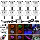 RGB Led Decking Lights 0.5W Waterproof IP67 Ø30MM + WiFi Controller - Lighting for Terrace/Patio/Path/Wall/Garden/Decoration, 10 Packs