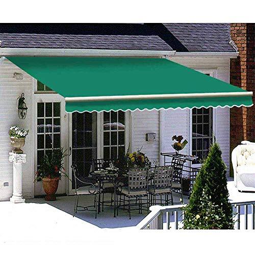 ZYFWBDZ Markise Klemmmarkise, DIY Patio Retractable Manuelle Markise Garden Sun Shade Canopy Gazebo mit Armaturen und Kurbelgriff,Grün,3x1.5m
