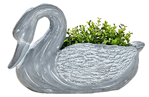 GILDE Dekofigur Pflanzschwan Pflanztopf Pflanzgefäß Gartendeko zementfarben, 25x45x27 cm