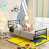 GIME Bed Frame Twin Size Easy Set-up Premium Metal Platform Mattress Foundation/Box Spring Replacement with Headboard and Footboard, Enhanced Sturdy Slats(Black)
