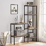 Estantería para libros, estantería independiente, estantería divisoria para pasillo, salón, dormitorio y cocina, marco de madera y metal