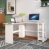 sogesfurniture Mesa de Ordenador Escritorio de Esquina en Forma de L, 136 x 130cm PC Escritorio de Oficina, Mesa de Estudio,...