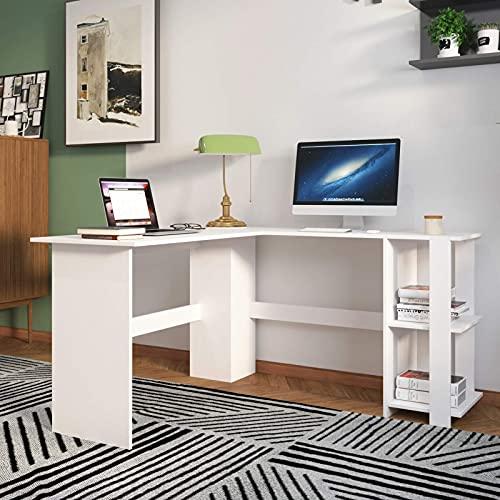 sogesfurniture Scrivania per computer ad angolo a forma di L Scrivania da ufficio, grande scrivania per laptop scrivania da studio con 2 ripiani per ufficio in casa, Bianca BHEU-XTD-SC01-WW