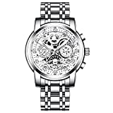 RORIOS Hombre Relojes Cronografo Analógico Cuarzo Reloj con Correa de Acero Inoxidable Impermeable Luminoso Moda Relojes de Pulsera para Hombre