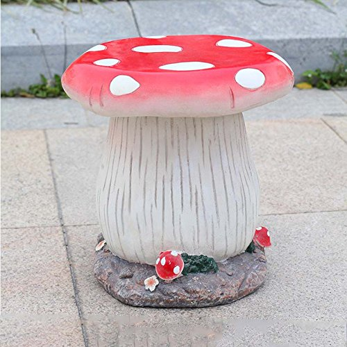 No band Pastoral Stil Harz Hocker, kreative Orangener Pilz Hocker, Dekoration Skulptur Stuhl Hof Garten, 30cm * 30cm 403 (Color : Red)
