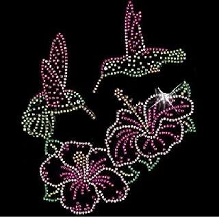Flower and Hummingbirds Rhinestone Iron on Transfer