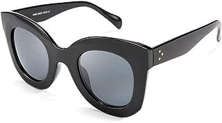 Oversized Square Horn Sunglasses Men Women Retro Thick...