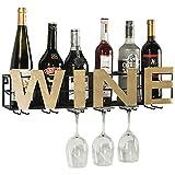 Estante del vino Botella de vino copas de cristal del estante montado en la pared de Burdeos Chateau Estilo Contiene 6 botellas de vino de su favorito elegante Almacenamiento for la cocina Comedor Bar