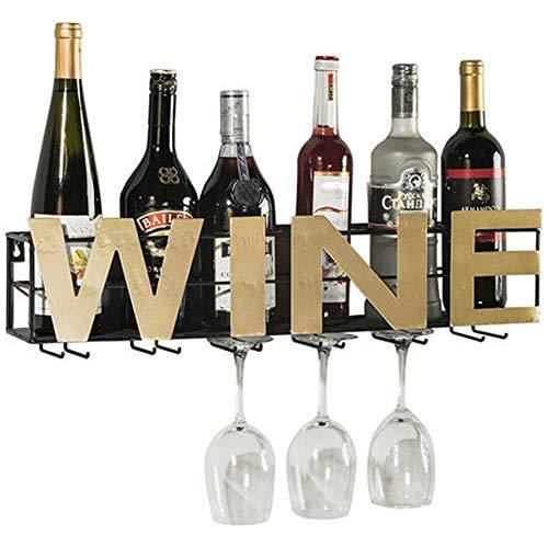 Lpinvin Weinregal Weinflasche Stemware Glas Rack Wandmontage Bordeaux Chateau Style für 6 Flaschen Metall Weinregal (Farbe : Black, Size : 6 Bottles)