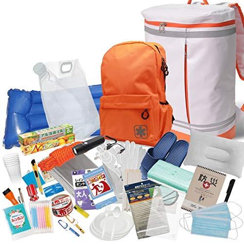 防災リュック BOX型バックパック 一時避難緊急セット 厳選33点装備 配給受け取り用や救急セット用に使えるサブバッグ付き カラー:ホワイト