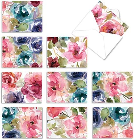 10 Assorted 'Lush Blooms' Thank You Note...