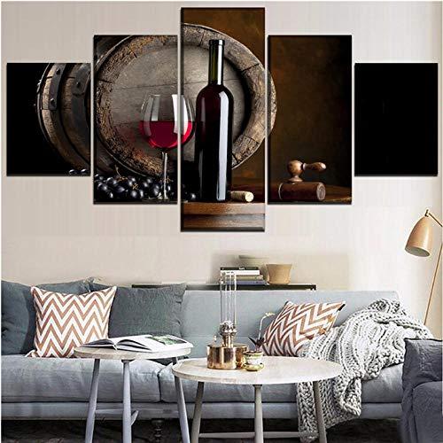 wuyii Hd-Prints Schilderij Woonkamer Decor druiven poster 5 stuks rode wijn en beker en eiken vaten foto's op canvas Ingelijste kunstwerken 20x35cmx2/20x45cmx2/20x55cmx1