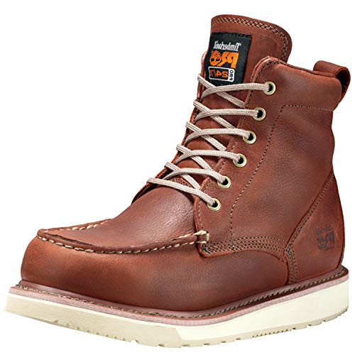 Timberland PRO Men's 53009 Wedge Sole 6″ Soft-Toe Boot,Rust,8 W
