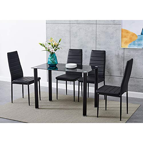 Panana GlassDining Table Set and 4 Soft Black Leather Chairs Seats Kitchen Home Set (120CM table+4Chairs)
