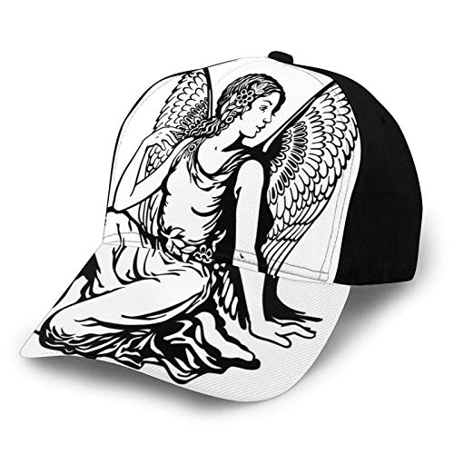 Men's and Women's Fashion Printed Baseball Caps,Young Woman Artistic Figure with Angel Wings Monochrome Tattoo Art Design,Outdoor Trucker Baseball Cap