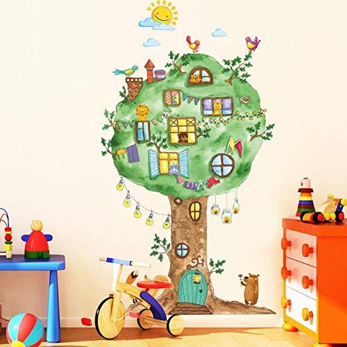 OTXA Cartoon Baumhaus Vinyl Wandaufkleber Für Kinderzimmer Kindergarten Babyzimmer Wanddekoration Wohnkultur Kunst Aufkleber Wandbild