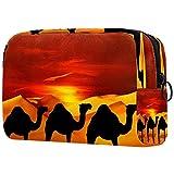 Bolsa de maquillaje con diseño de animales del desierto de camello y arena Sahara para guardar artículos de tocador portátiles para niñas, mujeres
