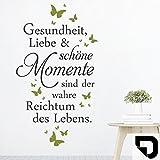 DESIGNSCAPE Wandtattoo Gesundheit Liebe Momente   Spruch Lebensweisheit 68 x 120 cm (Breite x Höhe) Farbe 1: schwarz DW801699-M-F4