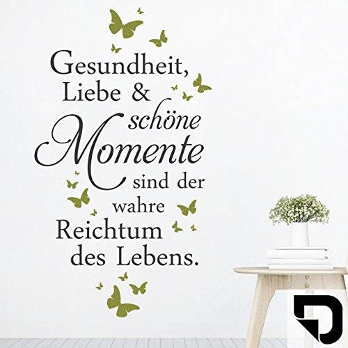 DESIGNSCAPE® Wandtattoo Gesundheit Liebe Momente | Spruch Lebensweisheit 68 x 120 cm (Breite x Höhe) Farbe 1: schwarz DW801699-M-F4
