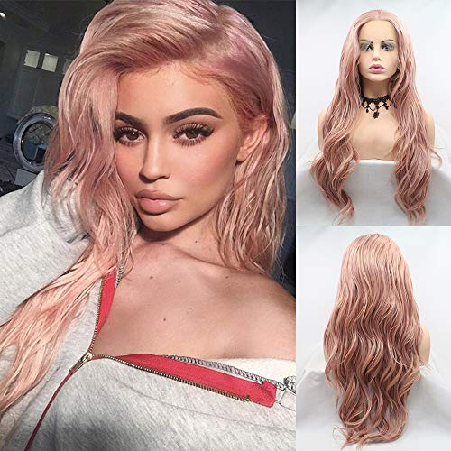 Karissa Hair Kylie Hairstyle Wigs for Women Rose Gold Synthetic Lace Front Wigs with Narural Hairline Long Wavy Lace Wigs with Middle Part Colorful Glueless Heat Resistant Fiber …
