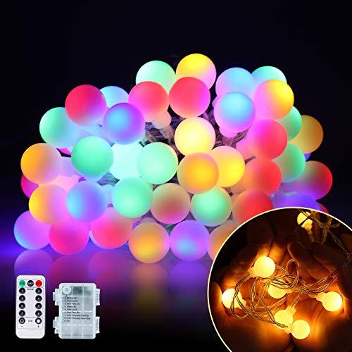 VIMOV Guirnaldas Luces Exterior Pilas, Cadena de Luces 10M 60LED, Luces Led Iluminacion Impermeables 8 MODOS con IR Mando a Distancia para Jardin, Exterior, Fiesta, Navidad, Habitacion…
