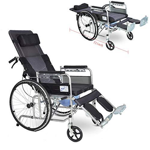 L-LIPENG Rollstuhllehne um 180 ° Verstellbar Liegestuhl Bequeme Toilette Abnehmbare Esstischplatte Feste Armlehnen und Verstellbare Pedale Doppelparksystem Anti Stich Reifen