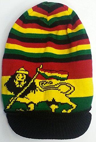 Rasta surdimensionné Baggy Slouch Bonnet Casquette Chapeau en rouge/jaune/vert à rayures - -