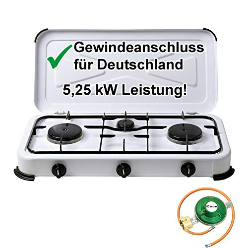 CAGO Gaskocher Campingkocher 2-flammig Gasherd 50 mbar mit Gasschlauch 100 cm und Gasregler 50 mbar