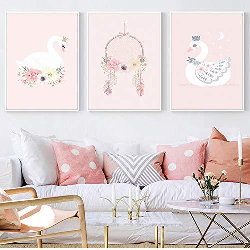WEDSA Mural Lienzo Pintura Cartel decoración del hogarNordic Fashion Cute Pink Princess Series Animal Canvas Painting Art Print Poster Picture Child Bedroom Home Decor 40x60cmx3 Sin Marco