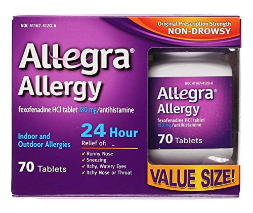 Allegra Adult 24 Hour Allergy Tablets, 180Mg, ( 70 Count )