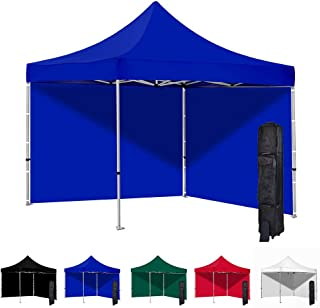 Vispronet 10x10 Instant Canopy Tent and 2 Side Walls – Commercial-Grade Aluminum Frame – Water Resistant and Flame-Retardant Canopy Top and Sidewalls – Includes Canopy Bag and Stake Kit (Blue)