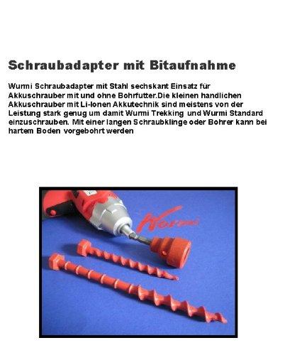 SCHRAUBHERINGE - Holly ® Produkte STABIELO ® - DER PROFI - WURMI - BIT ADAPTER für Standard & Trecking Wurmis - Schraubheringe - Zeltheringe - Wurmi-produkte für CAMPING-CARAVAN-OUTDOOR-FREIZEiT - MADE in GERMANY - LANGZEIT-TEST bestanden - holly-sunshade ® - NUSSADAPTER 24 mm gegen AUFPREIS -