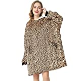 LetsFunny Oversized Hooded Blanket Sweatshirt, Super Soft Warm Comfortable Sherpa Wearable Blanket with Giant Pocket, for Adults Men Women Teenagers Kids, One Size Fits All (Leopard, Adult)