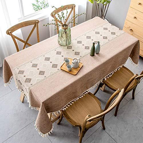 VIVILINEN Mantel Rectángulo Mantel de Lino de algodón, Borla de Costura Cuadrada Diseño Manteles rectangulares Manteles Lavables para Mesa de Comedor de Cocina