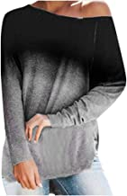LONGDAY Oversized Gradient SweaterWomens Crewneck Long Sleeve Casual Solid Top and Blouse Fashion T Shirt Pullover
