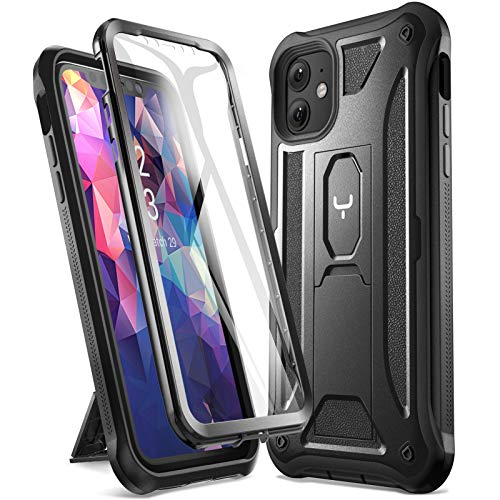 YOUMAKER Designed for iPhone 11 Case,Heavy Duty Protection Kickstand with Built-in Screen Protector Shockproof Cover for iPhone 11 6.1 Inch (2019) - Black