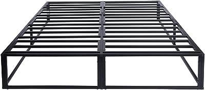 HOMYLIN Cadre de lit en métal 150 x 200 cm, Full / Queen / King - Cadre de lit simple / paire - Montage sans outils - Base de matelas solide en acier noir
