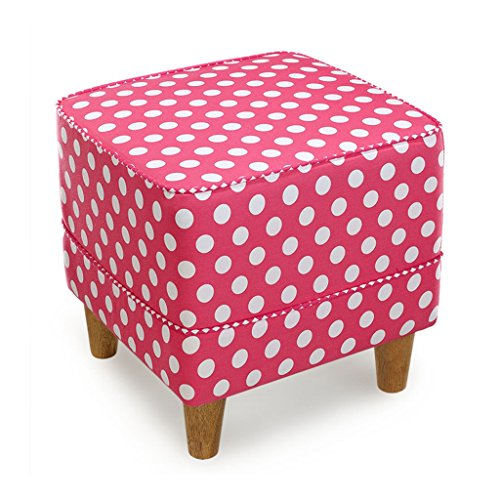 Wooden Foot Stool Cube Pouffe Sofa Stool with 4 Oak Legs Dot Fabric Cover Square Ottoman Upholstered Footrest for Living Room Hallway,50x40cm (Color : Pink)