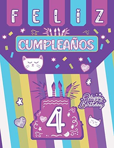 Regalo de Cumpleaños 4 Años Para Niñas: Bonito diario en blanco con un gato como regalo de 4° cumpleaños (mejor que una tarjeta) - Hermoso regalo para niñas de 4 años