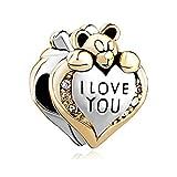 Uniqueen - Ciondolo a forma di cuore, decorato con orsetto, con incisione 'I love you' e pietre colorate, adatto a bracciali Pandora o Chamilia