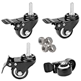 4X Stem Casters Wheels M10 x 25mm with Brake Dual Locks, 2' Heavy Duty Swivel Stem Locking Caster Wheels with Nuts, 3/8' or M10 Threaded Stem Castor for Trolley Workbench - Pack of 4