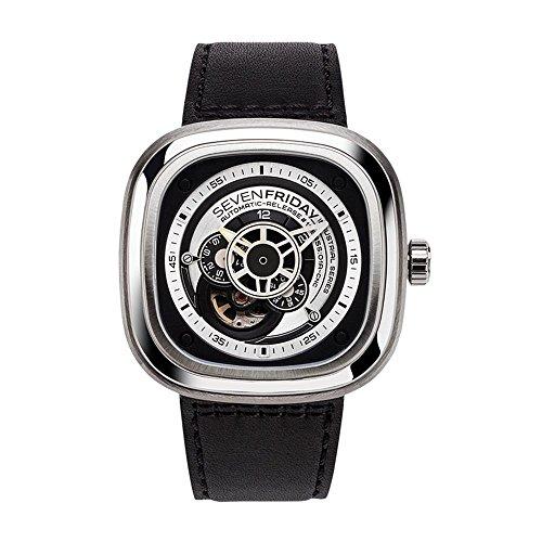 Seven Friday P-Series Herren-Armbanduhr 48mm Armband Leder Automatik P1B-01