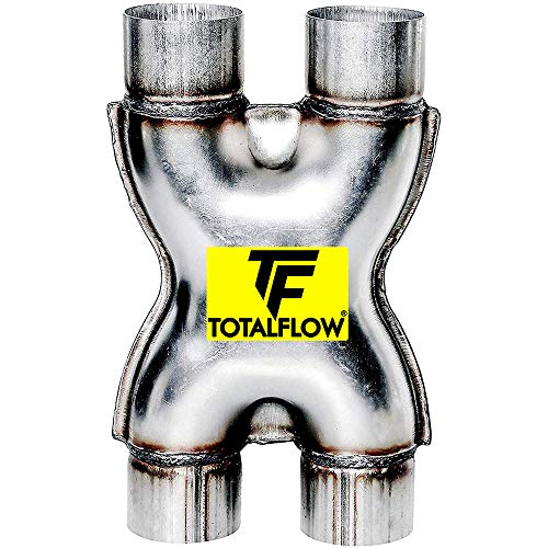 """TOTALFLOW Natural Finish TF-SS3030 409 Stainless Steel 3 Inch X-Pipe-3"""" Dual (Inner Diameter)"""