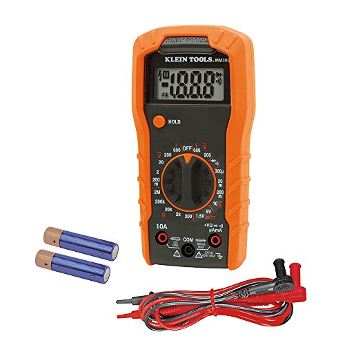 Multímetro digital, rango automático, 600 V, Klein Tools, Manual Ranging, negro/naranja